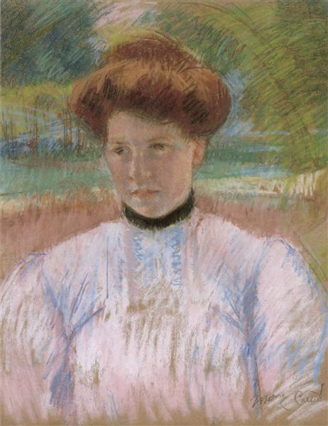 Young Woman with Auburn Hair in a Pink Blouse, 1895 - Mary Cassatt