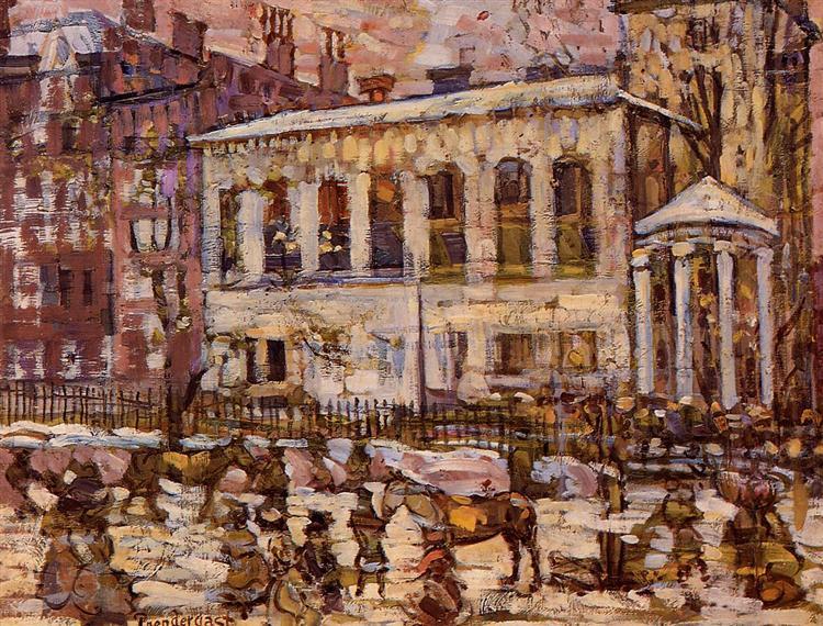 Boston, Snowy Day, c.1907 - c.1910 - Морис Прендергаст