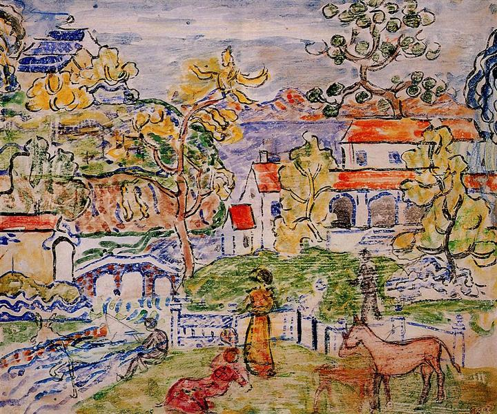 Figures and Donkeys (also known as Fantasy with Horse) - Maurice Prendergast