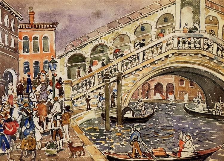 Rialto Bridge (also known as The Rialto Bridge, Venice), c.1911 - c.1912 - Maurice Prendergast