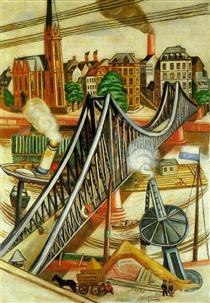 The Iron Bridge (View of Frankfurt) - Max Beckmann