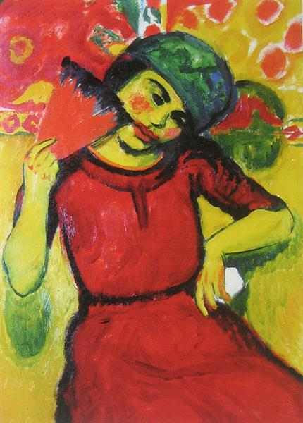 Young Woman with a Red Fan, 1910 - Max Pechstein