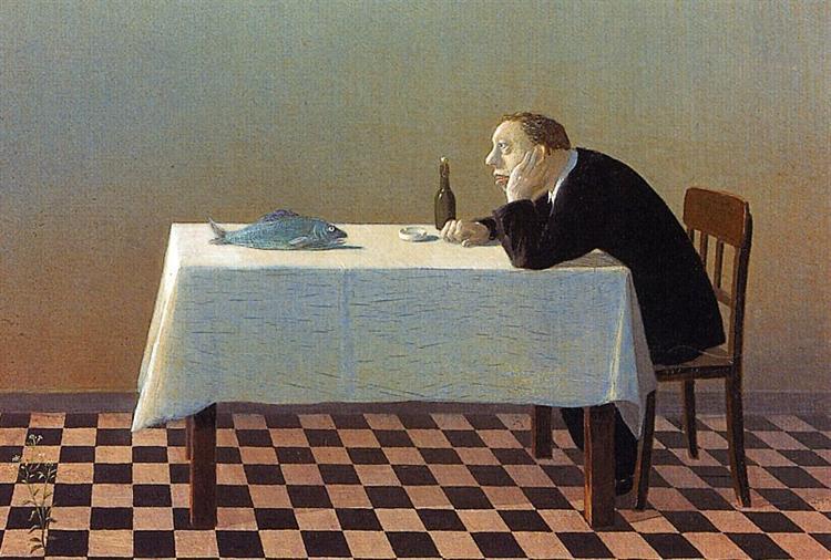 Man, Table, Fish - Michael Sowa