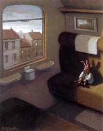 Rabbit on a Train (detail) - Michael Sowa