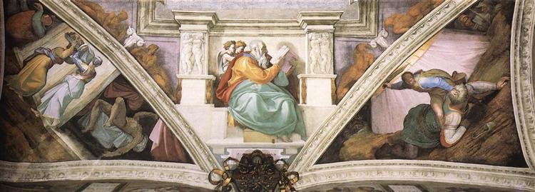Frescoes above the entrance wall, 1508 - 1512 - Michelangelo