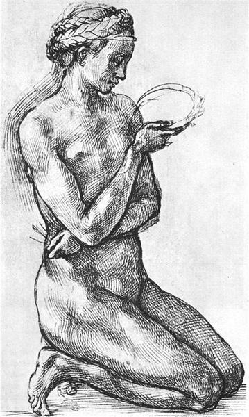 Nude Woman on her Knees - Michelangelo