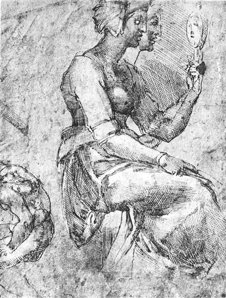 Study of a Seated Woman - Michelangelo