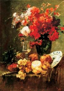 Still-life with Flowers and Fruits - Mihály Munkácsy