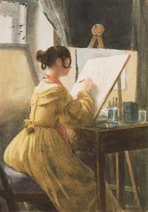 In the Atelier (Róza Teleki) - Miklós Barabás