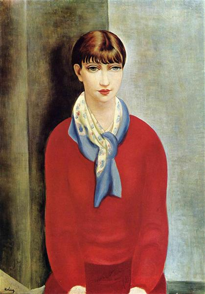 Kiki de Montparnasse in a red jumper and a blue scarf - Moise Kisling