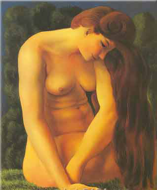 Nude seated on the grass, 1950 - Moise Kisling