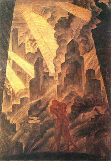 The Kiss, 1916 - Mstislav Dobuzhinsky