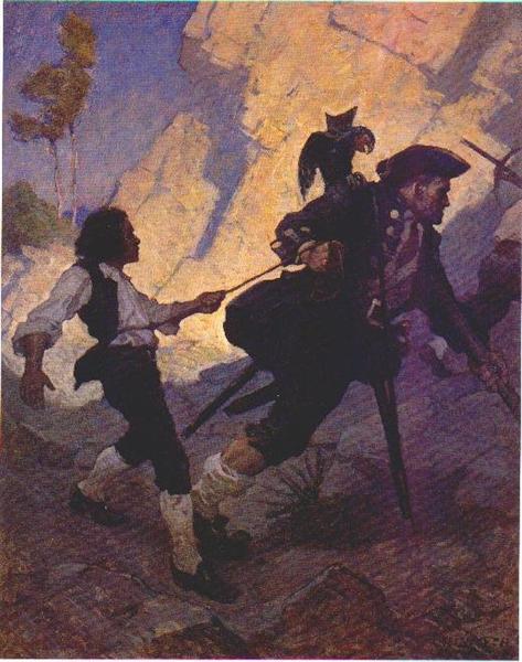 Jim, Long John Silver and his Parrot - N.C. Wyeth