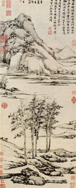 Trees in a River Valley in Yü shan, 1371 - Ni Zan