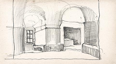 "Scenery sketch for Mussorgsky's opera ""Khovanshchina"", 1919 - Nicholas Roerich"