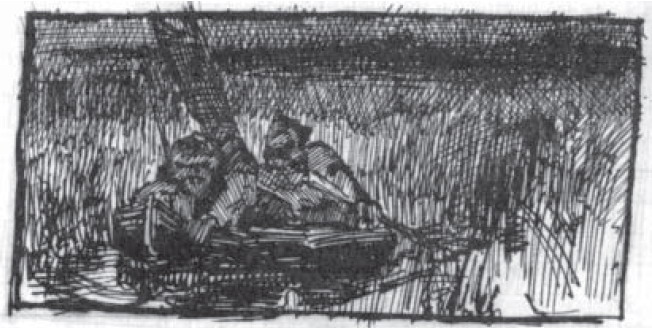 Sketch of two hunters in boat, 1889
