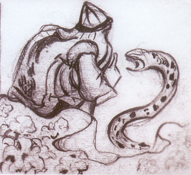 Snakes facing (Whisperer a serpent), 1912 - Nicholas Roerich