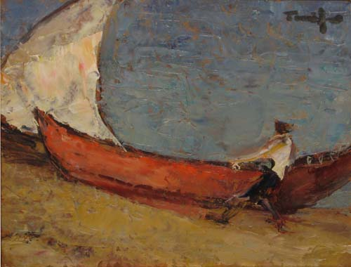 Fisherman boat at sea - Николае Тоница