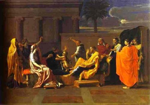 Младенец Моисей попирает корону фараона - Николя Пуссен