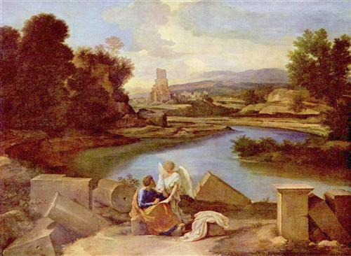 Landscape with St. Matthew and the Angel - Nicolas Poussin
