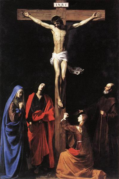 Christ on the Cross with the Virgin, Mary Magdalene, St. John and St. Francis of Paola, 1628 - Nicolas Tournier