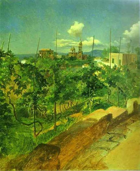 Vineyard at Vico, 1858 - Николай Ге