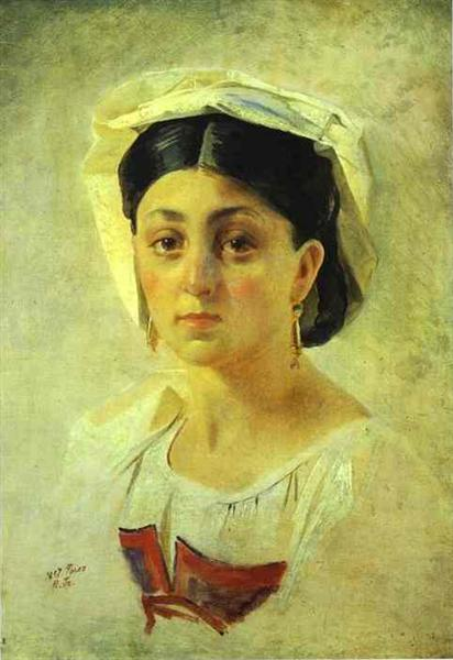 Young Italian Woman in a Folk Costume, Study, 1857 - Николай Ге