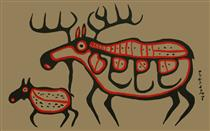Moose and Calf - Norval Morrisseau