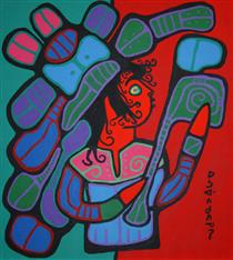 Shaman On Red and Green - Norval Morrisseau