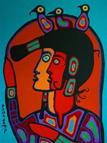 Shaman With Spirit Self - Norval Morrisseau