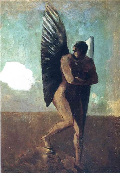 Fallen Angel Looking at at Cloud, c.1875 - Odilon Redon