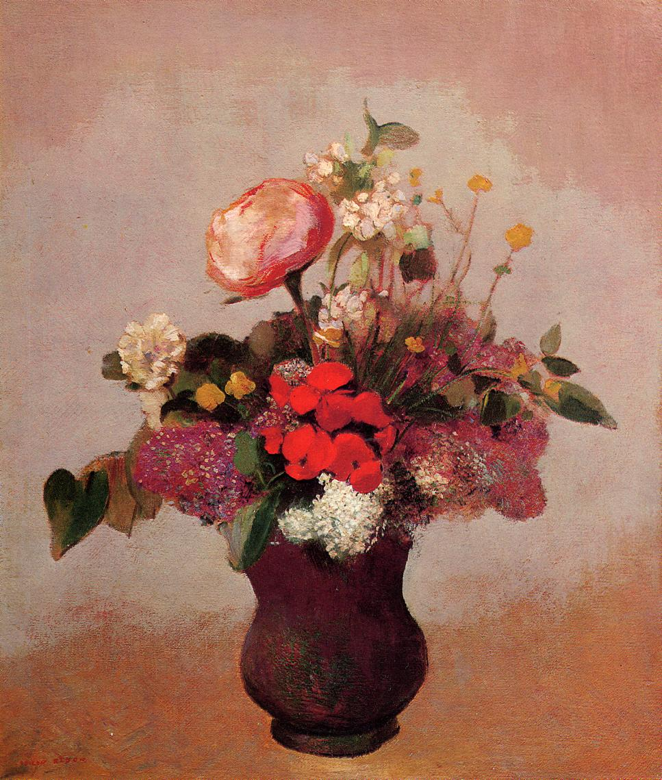 Flowers In Aa Brown Vase C 1904 Odilon Redon Wikiart Org