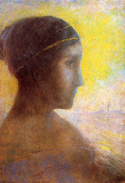 Head of a Young Woman in Profile - Одилон Редон