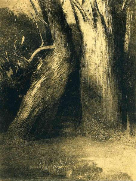 Two trees, 1875 - Odilon Redon