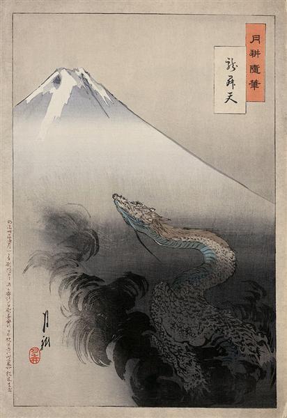 Dragon rising to the heavens, 1897 - Ogata Gekko