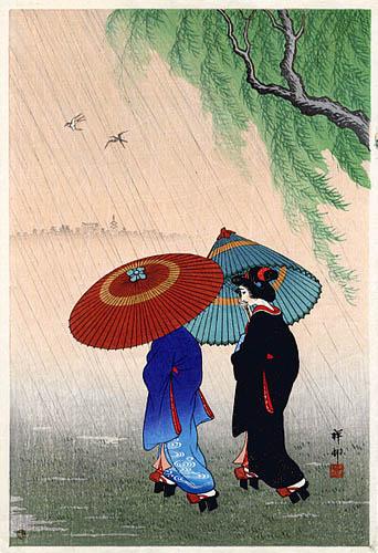 Two Beauties In Rain 1935 Ohara Koson Wikiart Org