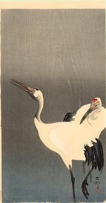 Two white cranes - Ohara Koson