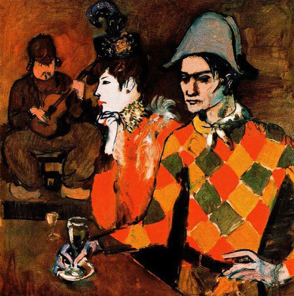 "At ""Lapin Agile"" (Harlequin with Glass), 1905 - Pablo Picasso"