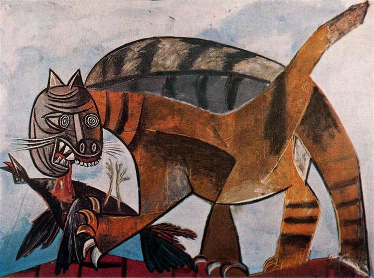 Cat eating a bird, 1939 - 畢卡索