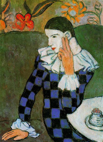 Harlequin leaning, 1901 - Pablo Picasso