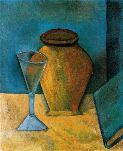 Pot, Glass and Book - Pablo Picasso