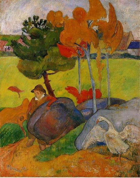 Breton Boy in a Landscape with Goose, 1889 - Paul Gauguin