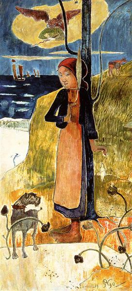 Jeanne d'Arc, or Breton girl spinning, 1889 - Paul Gauguin