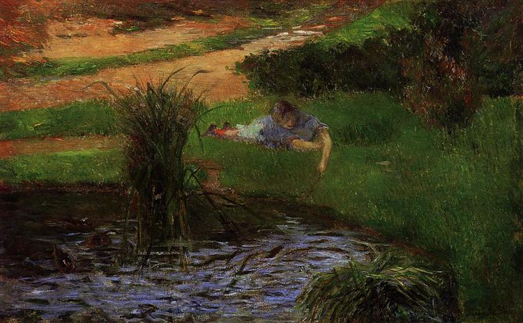 Pond with Ducks (Girl Amusing Herself), 1881 - Paul Gauguin