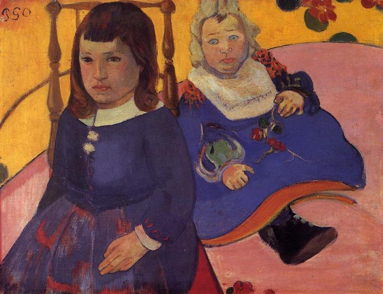 Портрет двух детей (Поль и Жан Шуффнекеры), c.1889 - Поль Гоген