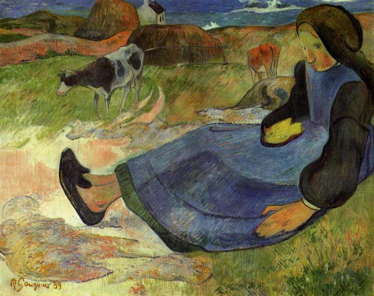 Сидящая бретонская девочка, 1889 - Поль Гоген