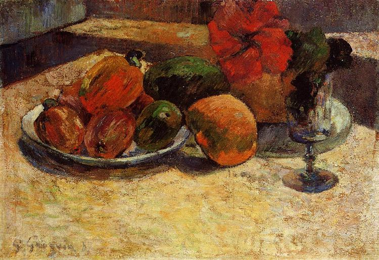 Still life with mangoes and hibiscus, 1887 - Paul Gauguin