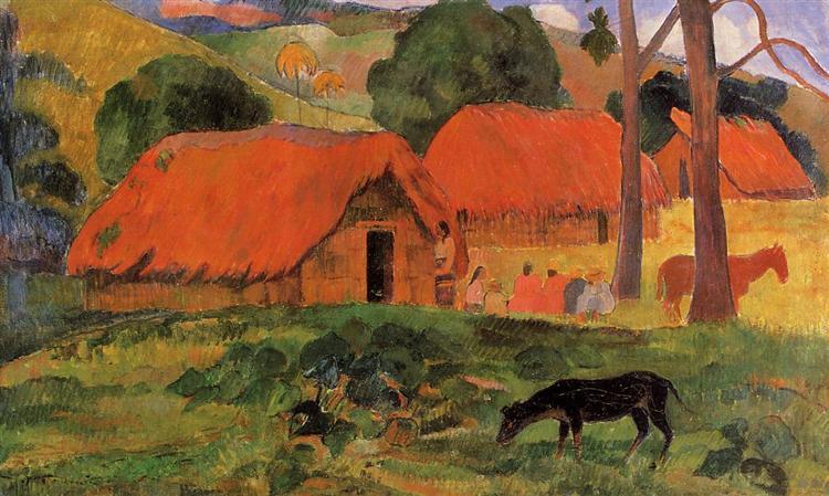 The Three Huts, c.1891 - Paul Gauguin