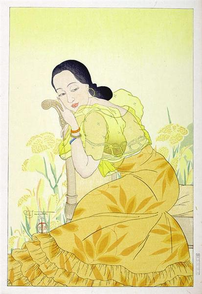 Portrait of a Chamorro Woman - Yellow, 1934 - Paul Jacoulet