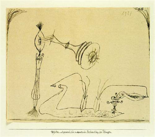 Apparatus for the Magnetic Treatment of Plants, by Paul Klee, 1908 (via WikiPaintings)